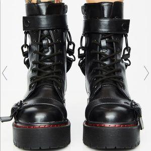 platform grunge combat boots w/ buckles.